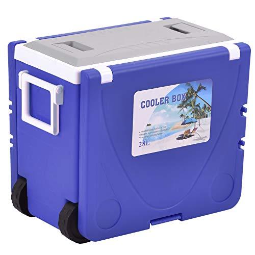 PURLOVE Kühlbox mit Rollen,Mini-Kühlschrank,Outdoor Multifunktional Klapptisch Kühler wärmer, Tisch, 2 Stühle,28L,8 Stunden (Blau)