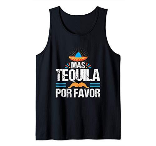 Mas Tequila Por Favor Fiesta Mexicana Bebida Española Fiesta Camiseta sin Mangas