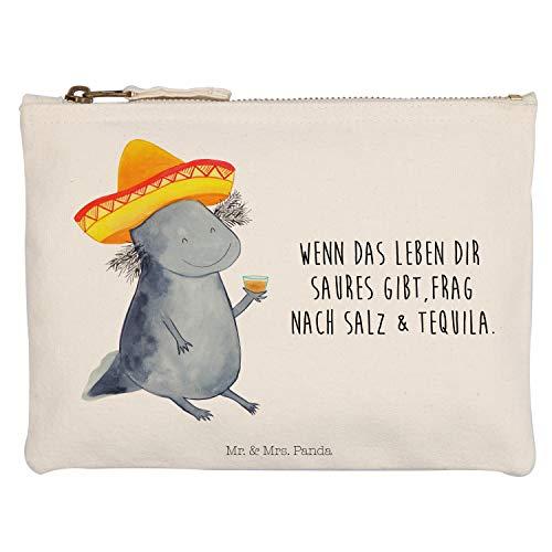 Mr. & Mrs. Panda Kosmetikbeutel, Kosmetiktasche, L Schminktasche Axolotl Tequila mit Spruch - Farbe Weiß