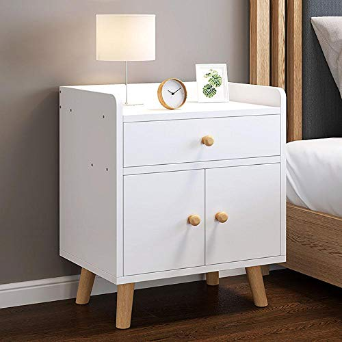 BOPP Bed Side Tables, Multi-level Classification Thin Bedside Table Multifunction Bedside Cabinet Bedroom, Raise the Guardrail Round Handle Easy to Assemble Not Easily Deformed A