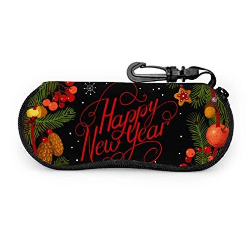 Wthesunshin Funda Gafas Feliz Navidad Feliz Año Nuevo Guirnalda Verde Neopreno Estuche Ligero con Cremallera Suave Gafas Almacenaje
