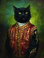 ヴィンテージアートキャンバスプリントポスター、漫画の肖像画枢機卿猫現代家族の寝室の装飾ポスター、キャンバスアートポスターとリビングルームの壁アート画像フレームなし-D_50X70Cm