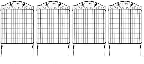 MTB, Pannello Decorativo per Recinzione da Giardino in Acciaio Verniciato Nero, 2 Foglie, 44'H36 W (Confezione da 4, Lunghezza lineare 12 Piedi) con Bordo in Metallo Pieghevole