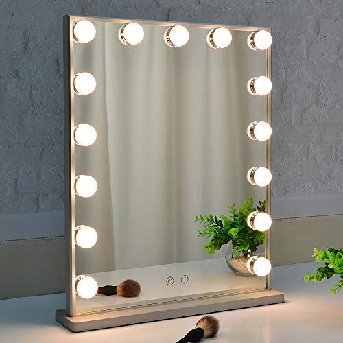 BEAUTME Hollywood Schminkspiegel mit Beleuchtung, Touch Control Tisch- / Wandspiegel mit 15 dimmbaren LED-Lampen (Silber)