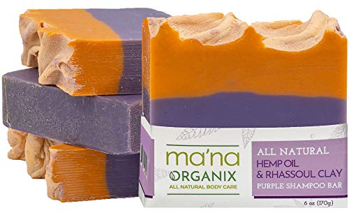 Ma'na Organix – All Natural Hemp Oil & Rhassoul Clay Purple Shampoo Bar for Blonde or Silver Hair with Ecofriendly and Biodegradable Packaging (1 bar of 6 oz.)