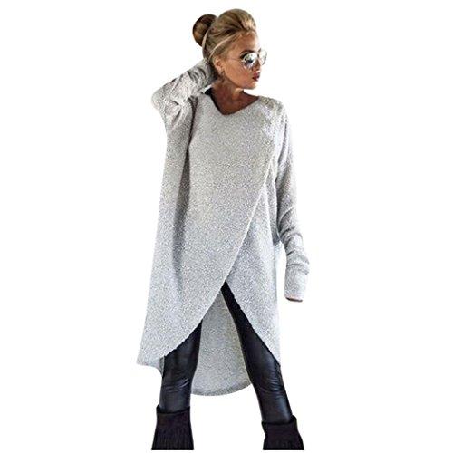 VJGOAL Damen Pullover, Damen Mädchen Mode Frühling Herbst unregelmäßigen Stricken lose Sweatshirt Pullover Lange Tops Bluse (M, Grau)
