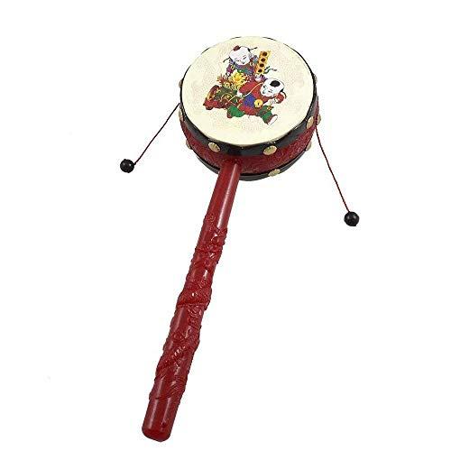 Ogquaton Tambor sonajero Tambor sonajero de Mano Tambor sonajero de plástico Tambor sonajero Chino Tambor sonajero Tradicional para niños Rojo más Negro Creativo y útil