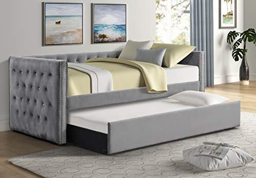 Best Master Furniture Laura Tufted Velvet Daybed + Trundle, Twin, Grey