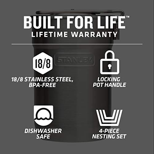 Product Image 1: Stanley Adventure Camp Cook Set – 24oz Kettle with 2 Cups – Stainless Steel Camping Cookware with Vented Lids & Foldable + Locking Handle – Lightweight Cook Pot for Backpacking/Hiking/Camping