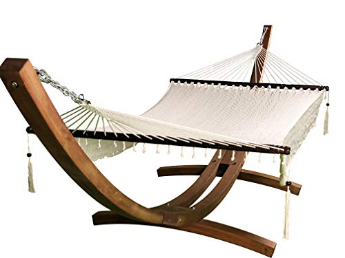 Petra Leisure 14 Ft. Wooden Arc Hammock Stand + Deluxe Hand Woven Bohemian Chic Rope Hammock Bed. 2 Person Bed. 450 LB Capacity(Teak Stain/White)