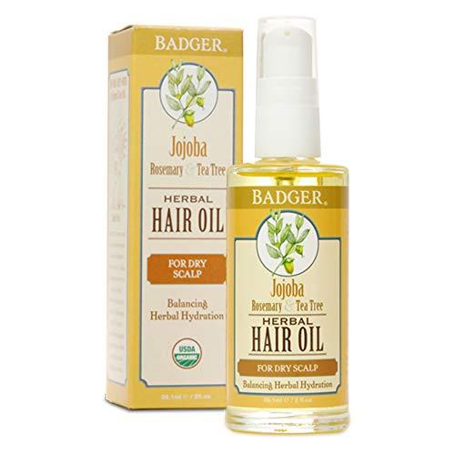 Badger Herbal Hair Oil - Jojoba, Rosemary & Tea Tree Dry Scalp Rescue 59.1ml