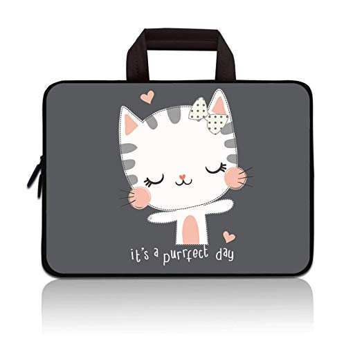 14 15 15.4 15.6 inch Laptop Handle Bag Computer Protect Case Pouch Holder Notebook Sleeve Neoprene Cover Soft Carrying Travel Case for Dell Lenovo Toshiba HP Chromebook ASUS Acer (Cute Cat)