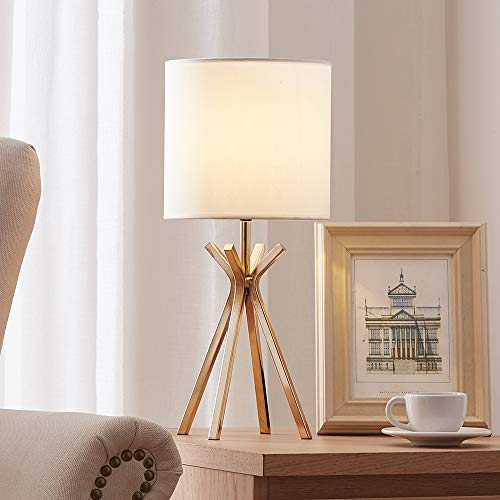 CASILVON Modern Small Design Gold Metal Base Living Room Bedroom Bedside Table Lamp, Desk Lamp with TC Fabric Shade