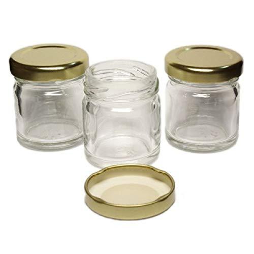 3DCompany 120 tarros de Cristal monodosis Mignon 40 ml con tapón para Miel Pimiento Pesto conservas Chutney