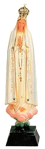 Ferrari & Arrighetti Imagen de la Virgen de Fátima de 27 cm Pintada a Mano y embellecida con Strass