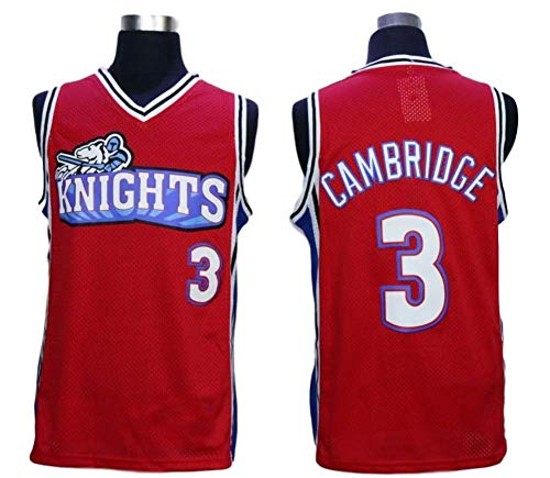 MVG ATHLETICS Cambridge #3 Knights Throwback Basketball Jersey Embroidery Small-XXL (Red, Medium)