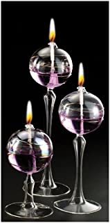 Iridescent Stem Ball Glass Oil Candle Lamps Set of 3, 2-8
