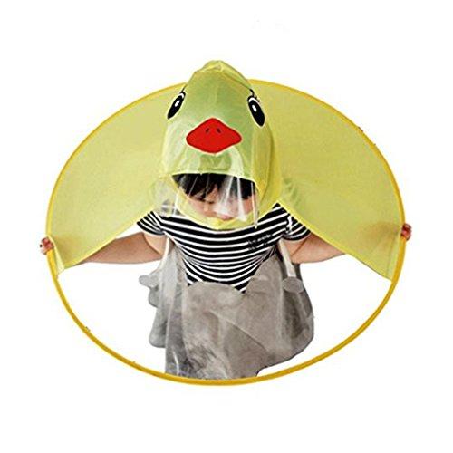Rosennie Baby Mädchen Junge Regenmantel Kinder Raincoats Portable Regenschirm Hut PEVA wasserdichte Mantel Headwear Portable Hände Frei PEVA Regenbekleidung Coats