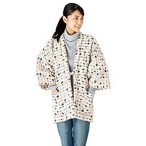 Cat Print Hanten (Cotton Jacket Made in Japan Kimono-Style) Japanese Clothes Size Ladies