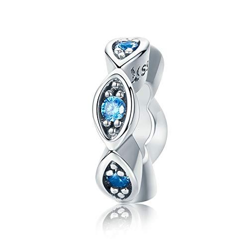 DIAN Jewellery - Distanziatore per charm a forma di occhio blu, in argento Sterling 925, adatto per braccialetti Pandora