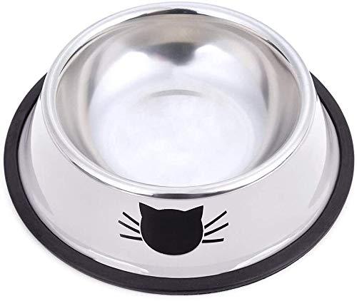 QIANSHI Fressnapf Katze Schalen Edelstahl Katzenfutter Wasser-Schüssel mit Anti-Rutsch-Gummiunter Small Pet Bowl Cat Futterschalen 3er-Set (Multicolor) Katzenfutter Schale