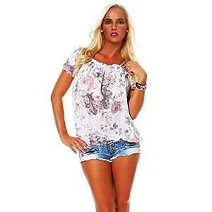 Zarmexx Blusa Para Mujer Top Camisa Floral Camisa de Manga Corta Blusa de Viscosa * Grande Rosa * (Talla Única, 36-40) | DeHippies.com
