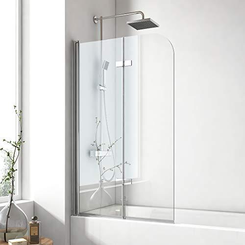 EMKE 120x140cm Badewanne Duschwand Faltwand mit NANO einfach-Reinigung Beschichtung 180° Schwingen Duschtrennwand 6mm Sicherheitsglas