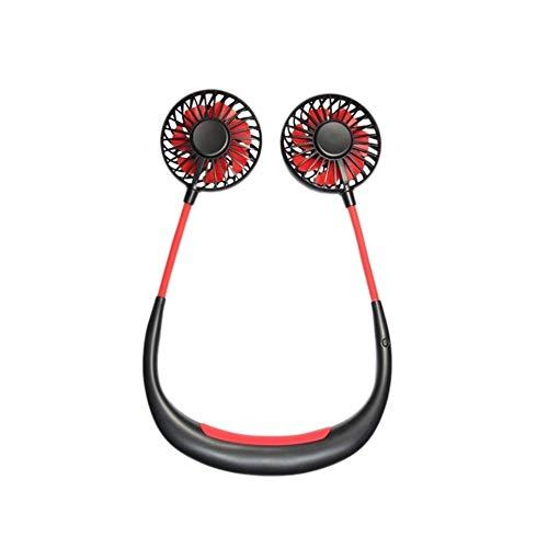 NOBRAND No Noise Lazy USB Ventilador Personal Colgante del Cuello Doble Mini Ventilador de refrigeración for Viajar al Aire Libre Cubierta Principal Uso de la Oficina