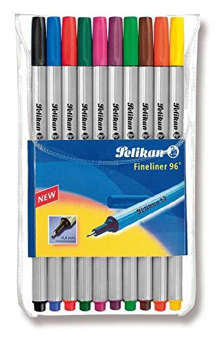 Pelikan Fineliner 96 Pen Set, 0.4mm Tip, Assorted Colors, 10 Colors Per Set (940676)
