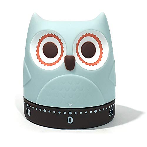 EJIE Cartoon Owl Chick Mechanical Timers 60 Minutes Kitchen Cooking Timer Clock Loud Alarm Counters Mini Size Manual No Batteries Required, 100% Mechanical - Magnetic Backing, Timer for Study. (Owl)