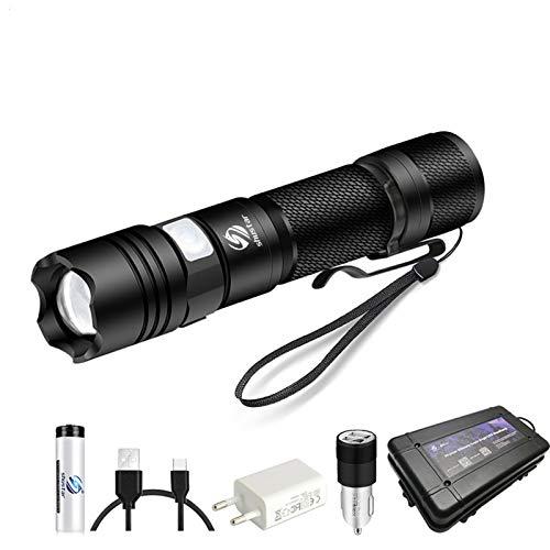 Súper brillante linterna LED Linterna Micro Tordo de carga Soporte de soporte zoom 5 Modos de iluminación Adecuado para caza, ciclismo, etc. (Body Color : T6 Low brightness)