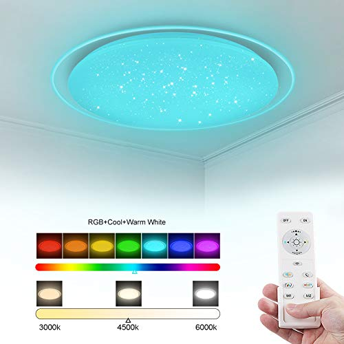 Bathroom kitchen LED Ceiling Light Round Ceiling Lamp 22W Natural White Ceiling Light for Living Room Office Bathroom Hallway Kitchen, 1900 lm, IP44 (RGB)