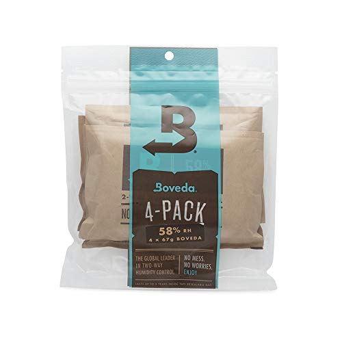 Boveda for Music | 49% RH 2-Way Humidity Control Replacement for Use in Fabric Holder | Size 70 for Fretted and Bowed Wood Instruments | Prevents Cracking and Warping | 4-Count Resealable Bag