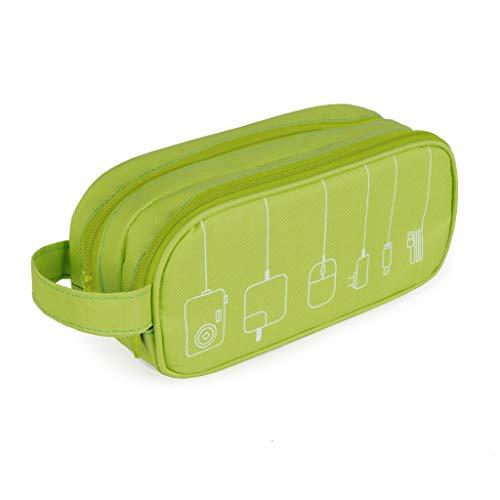 Balvi Organizador Cables Tidy Color Verde Estuche Doble con Bolsillos y separadores...