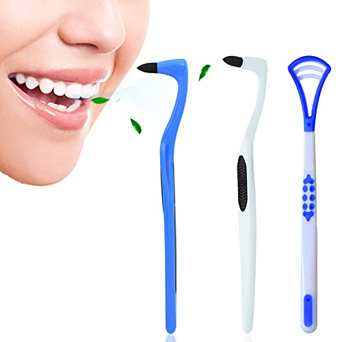 3 piezas Kit de Limpieza Dental Para Eliminar el Sarro , 2 Piezas de Quitamanchas (blanco y azul) y 1 Pieza de Raspador de Lengua Para...