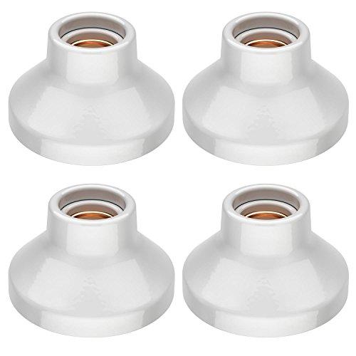 ledscom.de E27 Porcelana portalámpara Elektra, Redondo, Blanca, 90mm, 4 UDS
