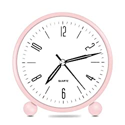 HeQiao Silent 4 Inch Metal Table Alarm Clock with Night Light for Girls (Pink)