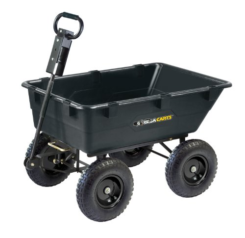 Gorilla Carts GOR866D Heavy-Duty Garden Poly Dump Cart with 2-In-1...