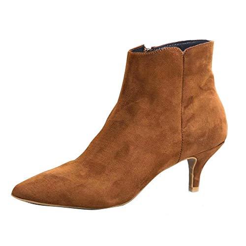 AicciAizzi Damen Mode Knöchel Stiefel Pointed Toe Kurze Stiefel Kitten Heels Leopard Schuhe Reißverschluss Buro Stiefeletten Kafei Große 37 Asiatisch