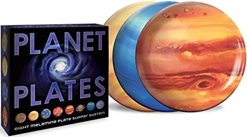 Planet Plates Set - Eight 10 Inch Melamine Astronomy Dinner Plates