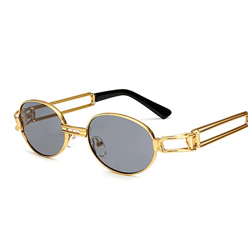 SHEANAON Gafas de Sol Redondas pequeñas para Mujer Gafas de Sol Steampunk para Hombre Gafas de Sol Doradas para Mujer Gafas con Montura