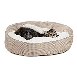 Cozy Cuddler Luxury Orthopedic Dog and Cat Bed with Hooded Blanket for Warmth and Security – Machine Washable, Water/Dirt Resistant Base – Jumbo Wheat