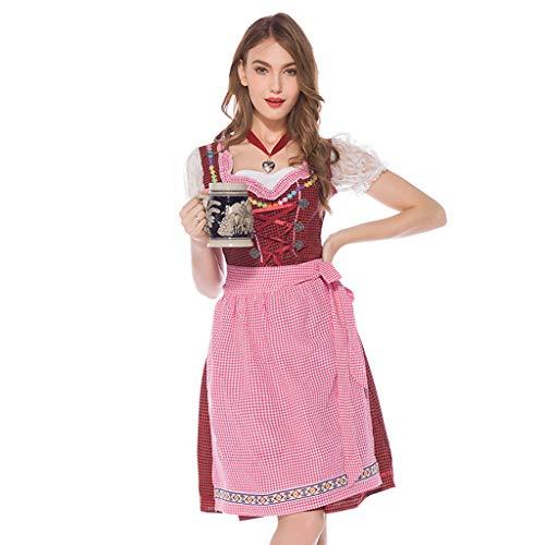 Romantic Bierfest Trachten Damen Dirndl Set - Bier Midi Trachtenkleid Kurzarm + Schürzen + Halsring für Oktoberfest Bierfest Karneval Kellnerin Partykleid Beer Kostüm Tavern Kleid Cosplay