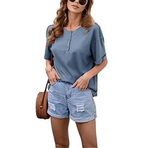 ZFQQ Camiseta con Cuello Redondo y Manga Corta en Color Liso para Mujer de Verano