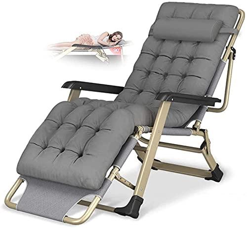 YRRA Silla reclinable Plegable Zero Gravity Sillón Oversize, Cojín de algodón para sillas de Playa para jardín al Aire Libre Patio con Almohada para la Cabeza Cargando hasta 300 kg