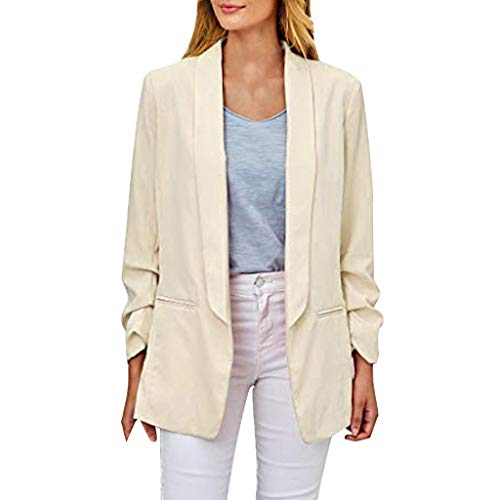 Vrouwen Lange Blazer, Dames Klassieke Effen Kleur Casual Blazer Ruched Lange Mouw Open Front Fit Office Cardigan Jacket
