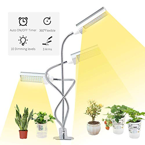 LED Grow Light for Indoor Plants,ERAVSOW Full Spectrum Growing Lamp with Timer,Tri Head Plant Grow Lamps with Adjustable Gooseneck & Desk Clip On,3 Switch Modes 10 Brightness Settings