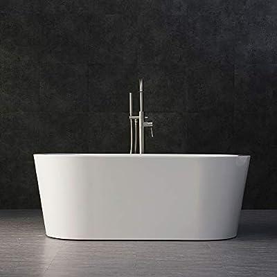 "WOODBRIDGE B-0012/BTA-1506 WHITE Acrylic Freestanding Bathtub Contemporary Soaking Tub with Brushed Nickel Overflow and Drain, BTA1506, 59"" B-0012"