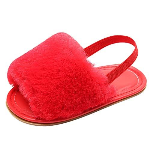 Kleinkind Schuhe für Kinder/Dorical Unisex Babyschuhe Jungen Mädchen Neugeborene Baby Brief Feste Flock Weiche Sandalen Slipper Freizeitschuhe Krabbelschuhe(Z03-Rot,22 EU)