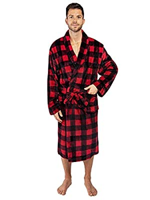 PAVILIA Premium Mens Fleece Robe   Ultra Soft, Warm Spa Robe   Luxurious Plush Lightweight Bathrobe